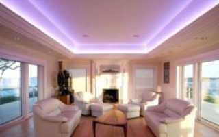 Как сделать подсветку натяжного и подвесного потолка
