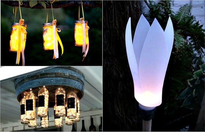 садовые светильники из подручных материалов