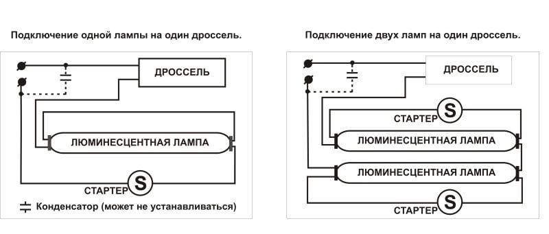 Конструкция лампы и схема подключения