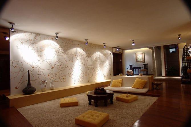 оформление комнаты софитами