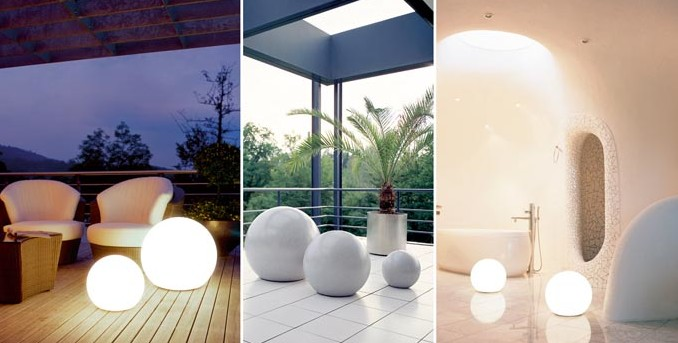Светильники шары на садовом участке