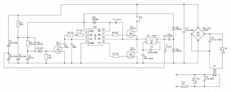 Схема включения источника света более новых моделей