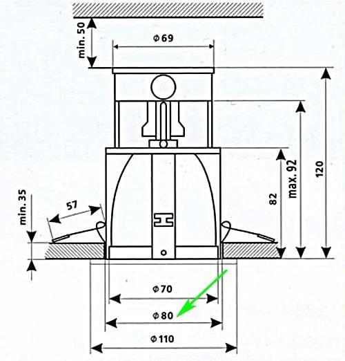 ширина светильника 80-85 мм