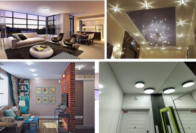 использование накладных светильников