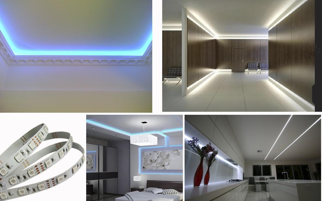 Светодиодной лентой можно организовать подсветку подвесного потолка, а при желании и подсветить ниши