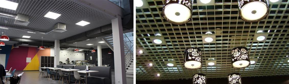 Приборы встраиваемого, накладного и подвесного типа на потолке грильято