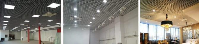 Использование растровых и точечных осветителей на потолках грильято