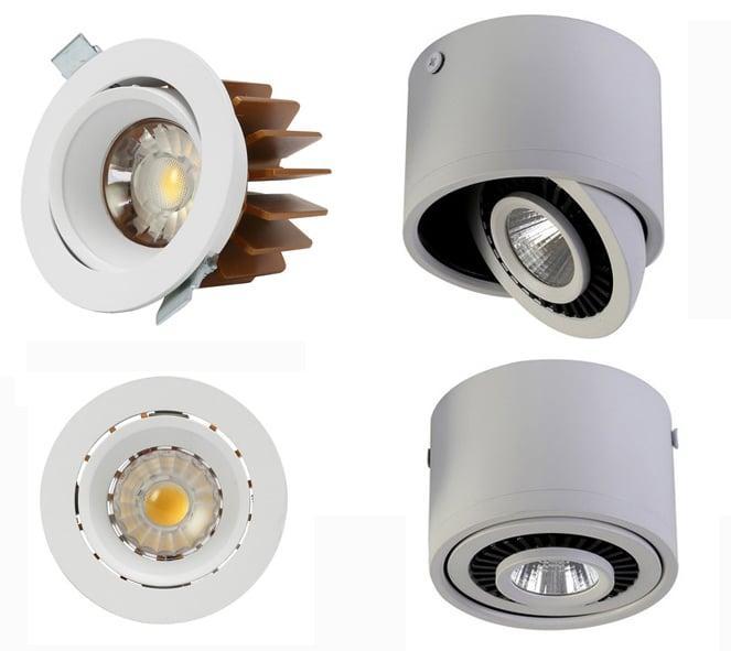 Встраиваемый (слева) и накладной поворотные светильники для потолка