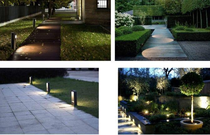 Подсветка грунтовыми светильниками
