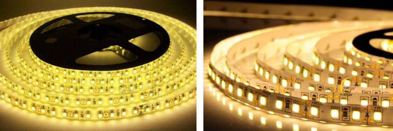 СЛ на 60 (слева) и 120 smd светодиодов на метр