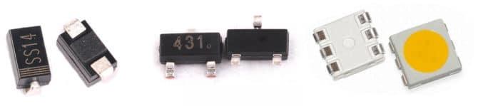 SMD диод, транзистор и светодиод