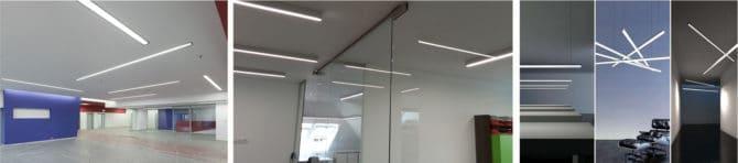 линейные светильники разных типов