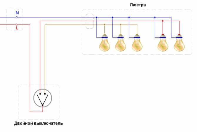 схема пятирожковой люстры