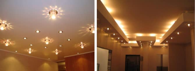 Использование точечных светильников