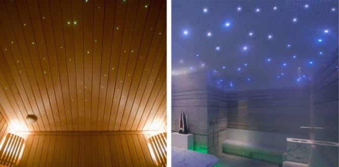 использование оптоволоконных светильников в бане