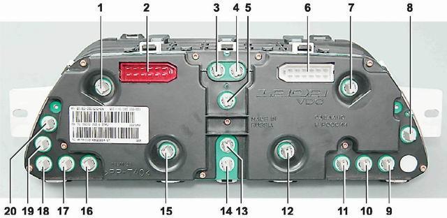 Назначение лампочек панели ВАЗ 2110