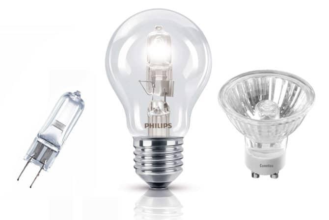 лампа накаливания и галогеновая