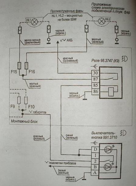 Электрическая схема подключения ПТФ на Лада Приора
