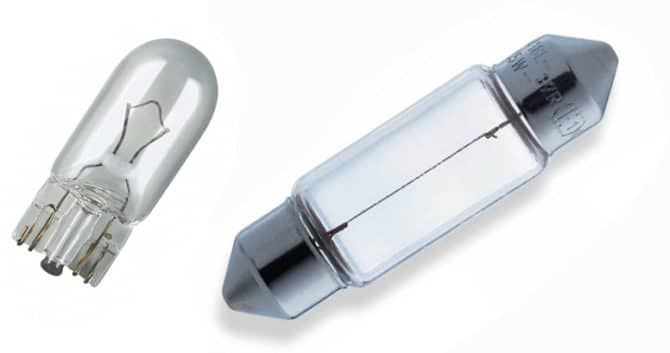 Лампы W5W и C5W