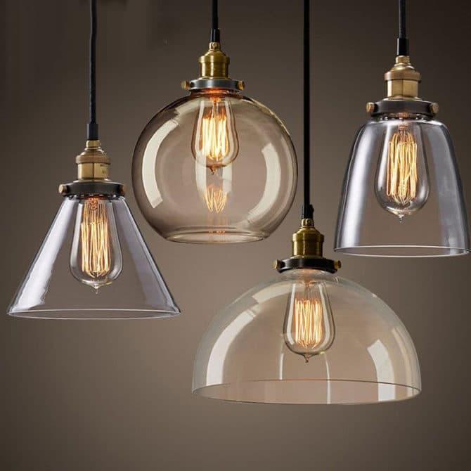 филаментные лампы в абажурах