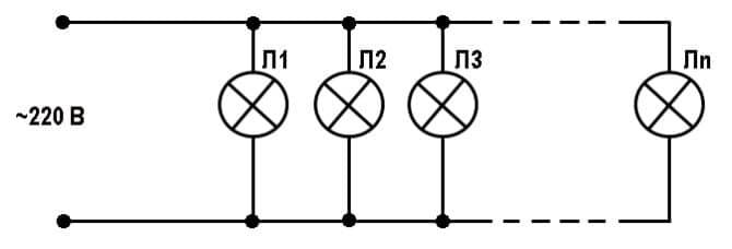 схема ретро гирлянды на 220