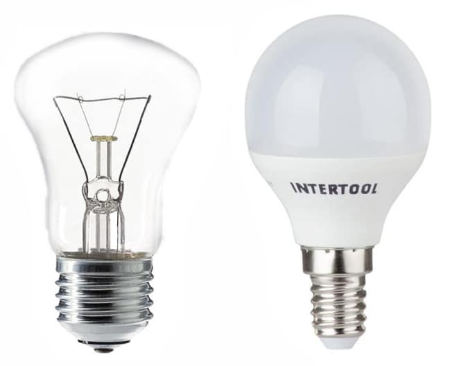 Лампочка накаливания и светодиодная