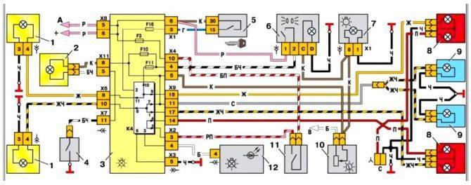 схема освещения ВАЗ 2109