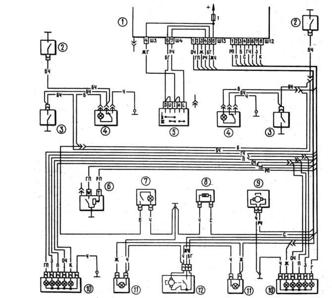 схема подключения фонарей салона
