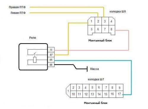 Монтажная схема подключения ПТФ