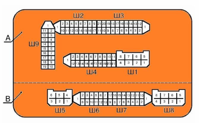 рисунок монтажного блока ВАЗ 2114
