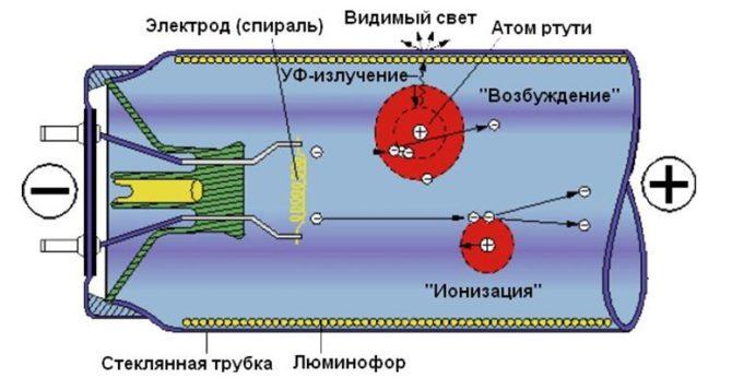 Конструкция люминесцентной трубки