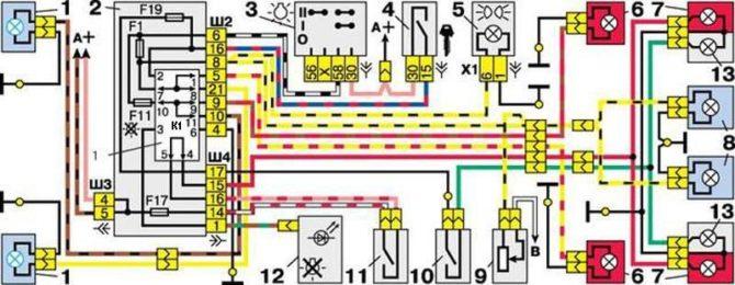схема питания световых приборов ВАЗ 2110