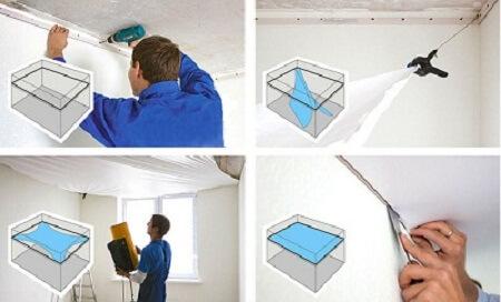 Этапы монтажных работ по натяжению потолка