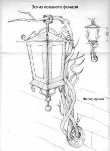 Схема кованного светильника