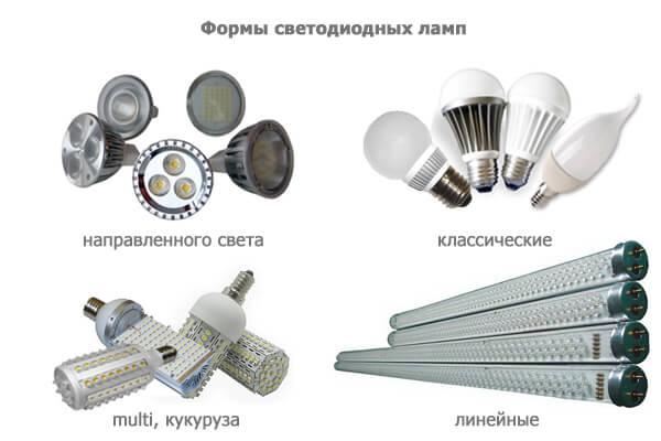 Формы диодных ламп