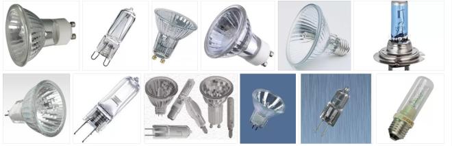 галогенновыя лампы, виды и формы