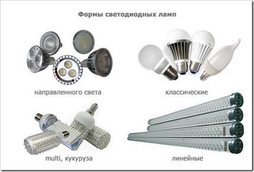 Различные виды светодиодных ламп для улицы