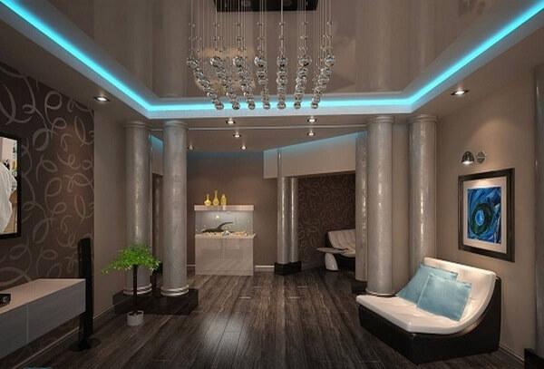 Парящие потолки светодиодной лентой