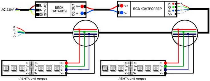 Схема подключения ленты RGB