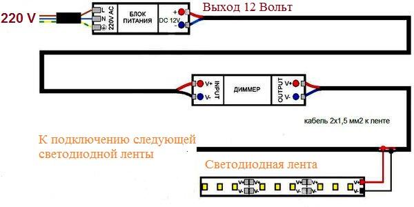 схема ленты с димером