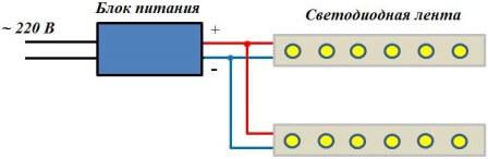 Схема подключения нескольких одноцветных лент