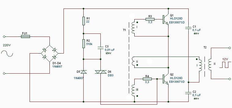Схема электронного трансформатора
