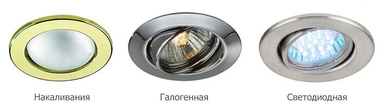 Различные варианты ламп освещения